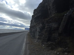 Road following the cliffs