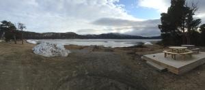 Skoganvarre campsite - frozen lake thawing