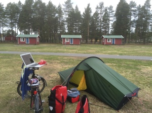 Preparing to leave Byske; Lobster on laptop route planning