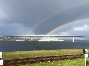 Sundsvall Bridge and rainbow