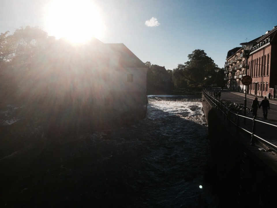 Sunshine on the river in Uppsala