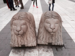 Heading back to hostel - these lions are everywhere, thought they looked like Dougal from Magic Roundabout