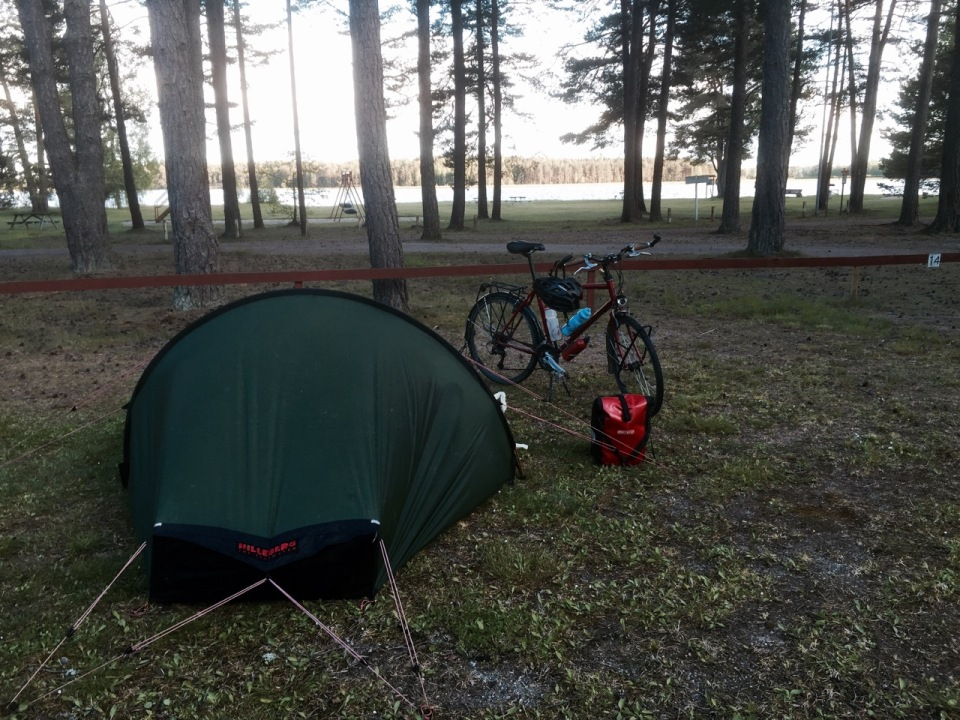Tent pitched at Strandstuviken