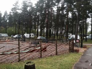Leaving Varnamo campsite - brief respite from the rain