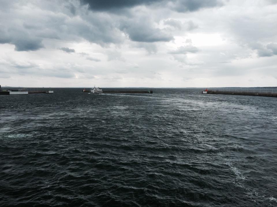 Leaving Helsingborg - bike safely stowed below decks