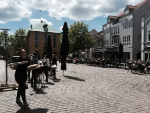 Lots of people out in cafes in Sonderborg