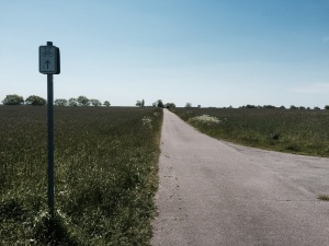 Pedalling through farmland following a marked cycle route