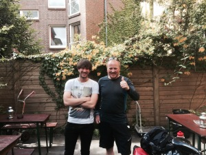 Preparing to leave Hamburg - with Alex, my compadre from last night
