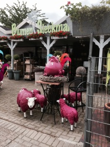 German garden ornaments, not quite gnomes, but purple sheep are, urr, interesting