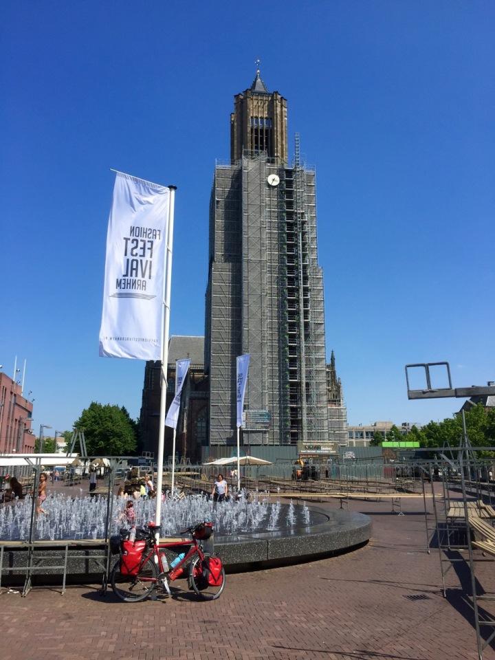Fountain and church in Arnhem