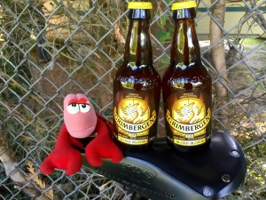 Lobster guarding a couple of 6.7% local brews