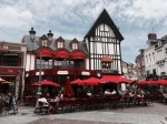 Lots of street restaurants in St. Quentin
