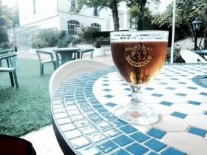 Cold glass of Grimbergen to end the day on