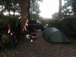 Cycle touring family camp and bikes