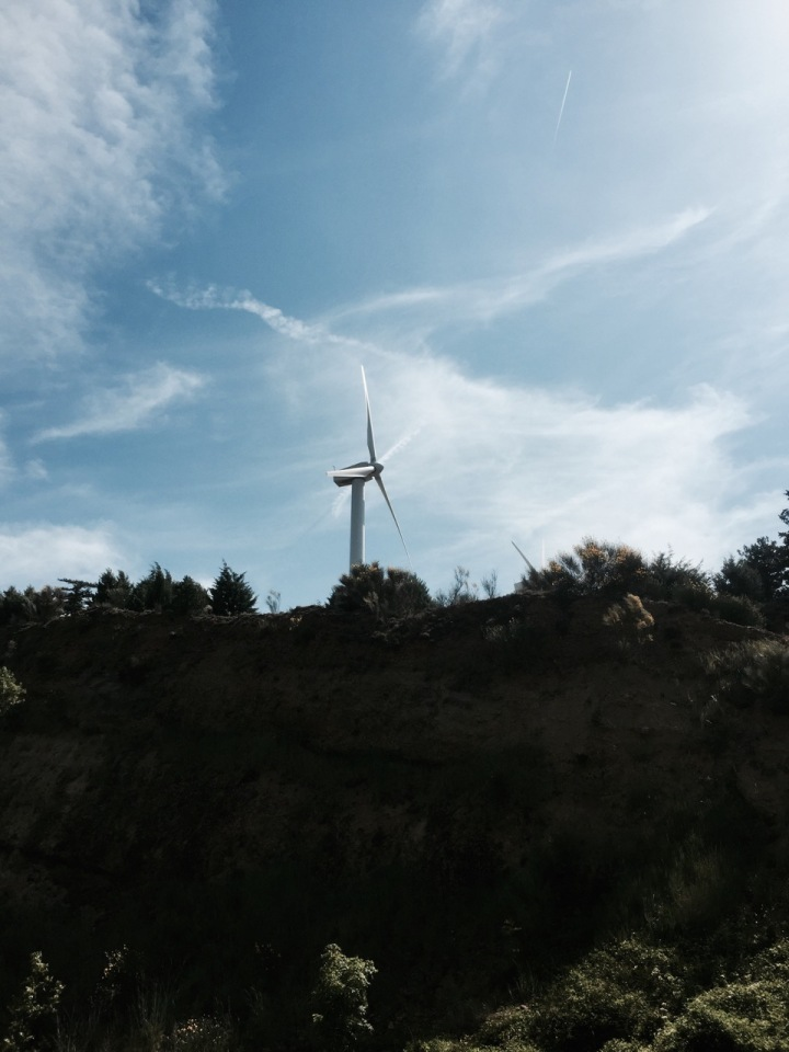 Big climb up to over 3,200 feet - lots of wind turbines everywhere
