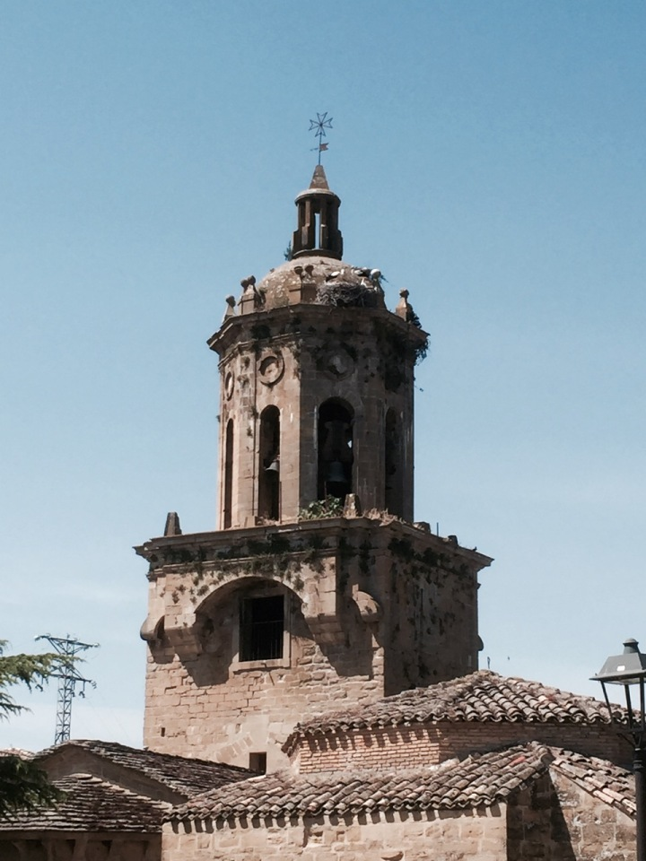 Church in Puente la Reina, with storks