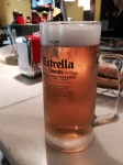 Cooling beer in Estrella whilst waiting for River