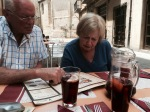 Mum and Dad studying the lunch menu