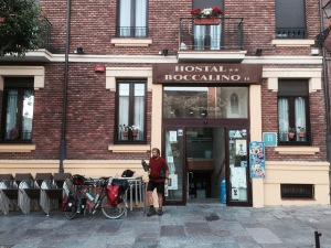 Preparing to leave Hostal Boccalino in Leon