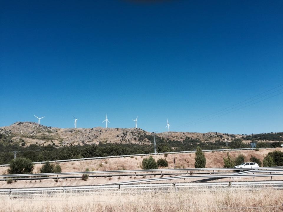 Wind farms on the mountain ridge