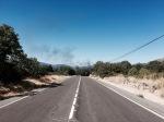 Downhill to Bejar; noticed some very black smoke