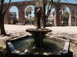 Plasencia - fountain provided relief from heat