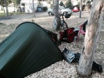 Tent in a shady spot