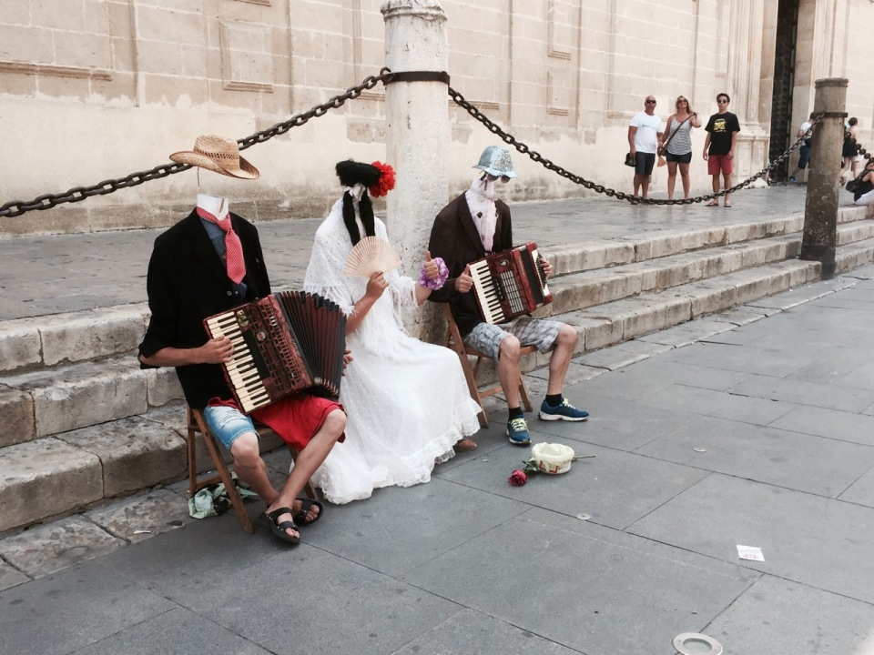 Groovy buskers near Cathedral, Seville - always chuck 'em a euro if they're good, these were