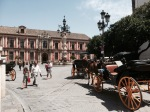 Lots of horse-drawn tourist taxis in Seville