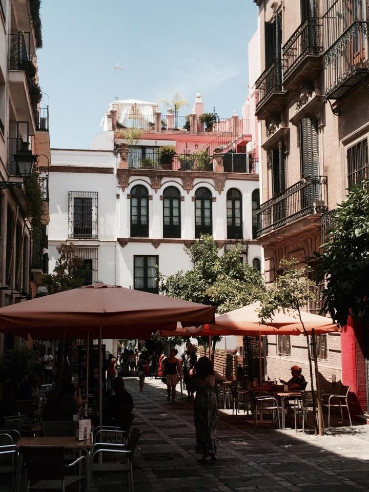 Lovely shaded street with restaurants, Seville