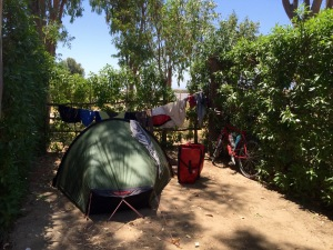 Camping spot at Rio Jara, Tarifa, washing done
