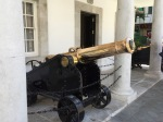 Shiny cannon outside Gibraltar government buildling