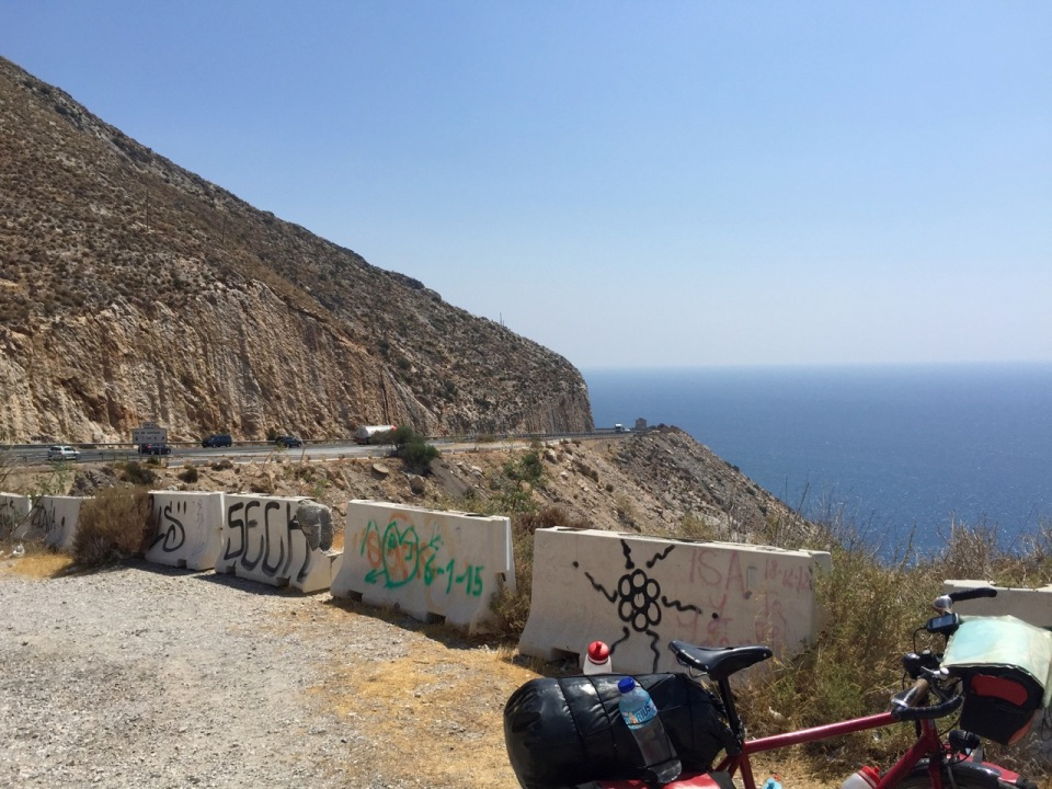 Road down near Gualchos, a lot of graffiti in Spain, not all very good
