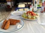 Salad and chicken dinner
