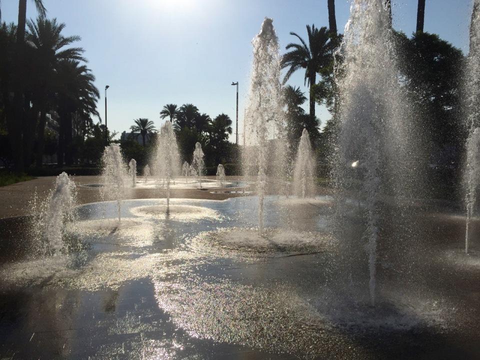 Weaving through fountains in Alicante