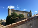 View from roof patio to chateau type building