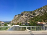 Crossing the bridge in Anduze