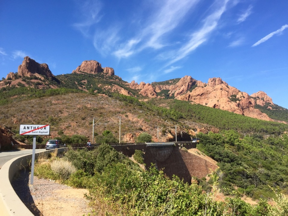 Hills made of red rock; near Antheor