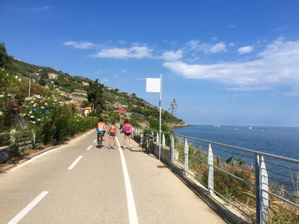Path runs along Liguria coastline - loads of walkers and cyclists