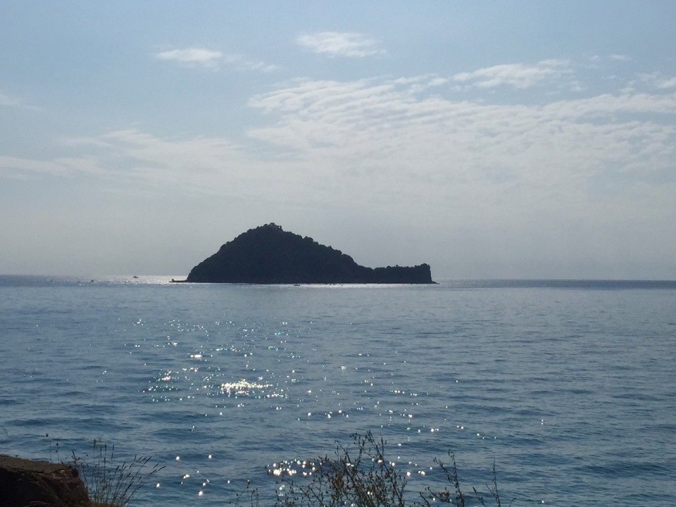 Island just off the coast nr Alassio; reminded me of St. Michael's Mount