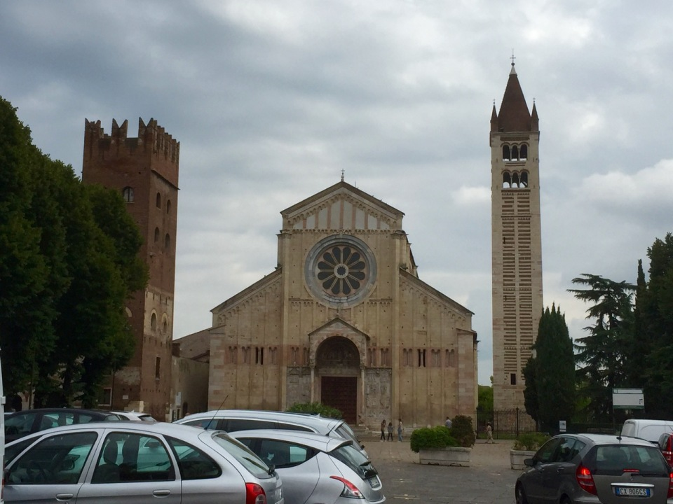 Arriving in Verona; one of many churches