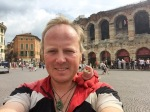 A rather grubby me and Lobster in Verona