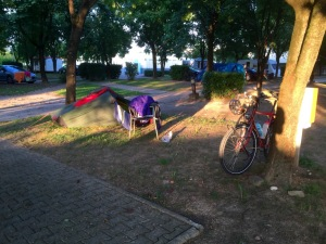 Campsite in Vicenza; under siege from mosquitoes
