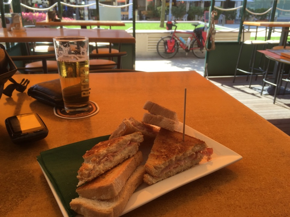 Toasted ham and cheese sandwich very good cycling fuel