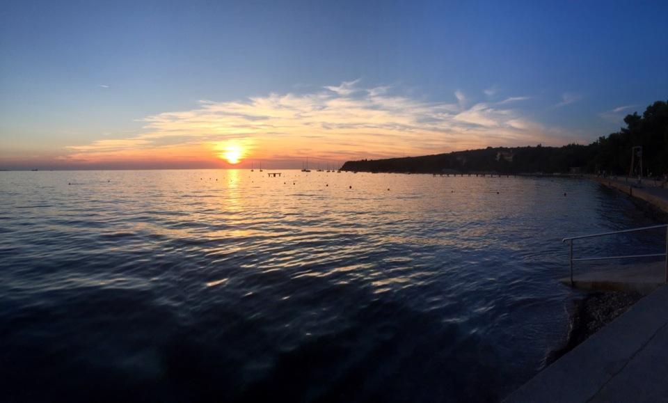 Sunset and yachts panorama, Ankaran, Slovenia