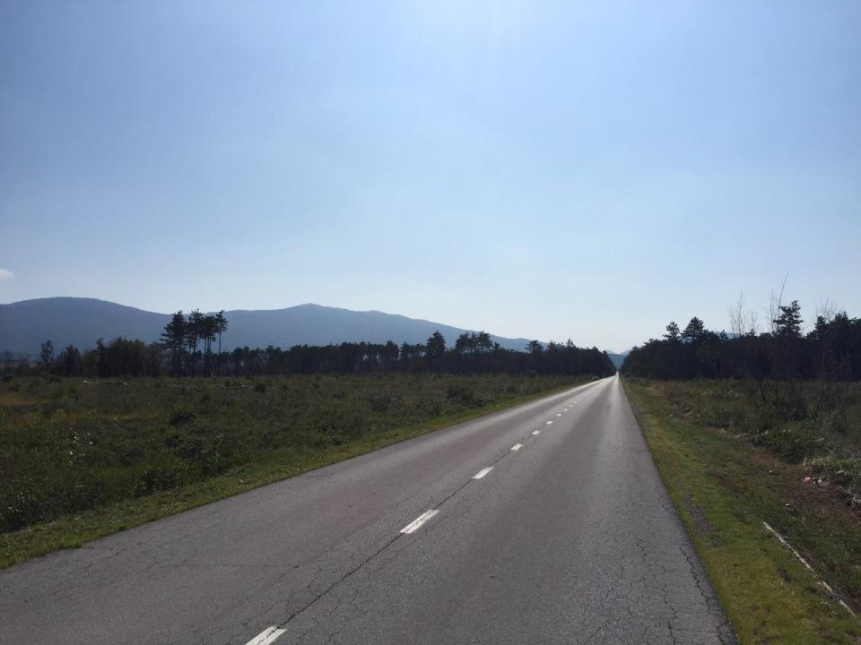 After a long climb, finally a flat bit towards Croatia