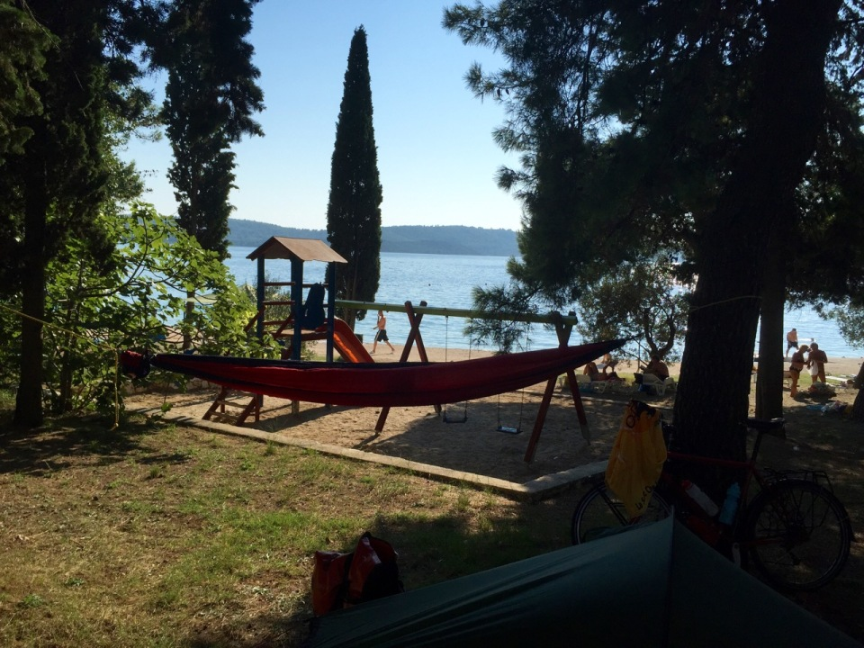 Pitched near the sea (and bar), Rosak camping, Trogir