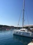 Catamaran and tourist submarine in background