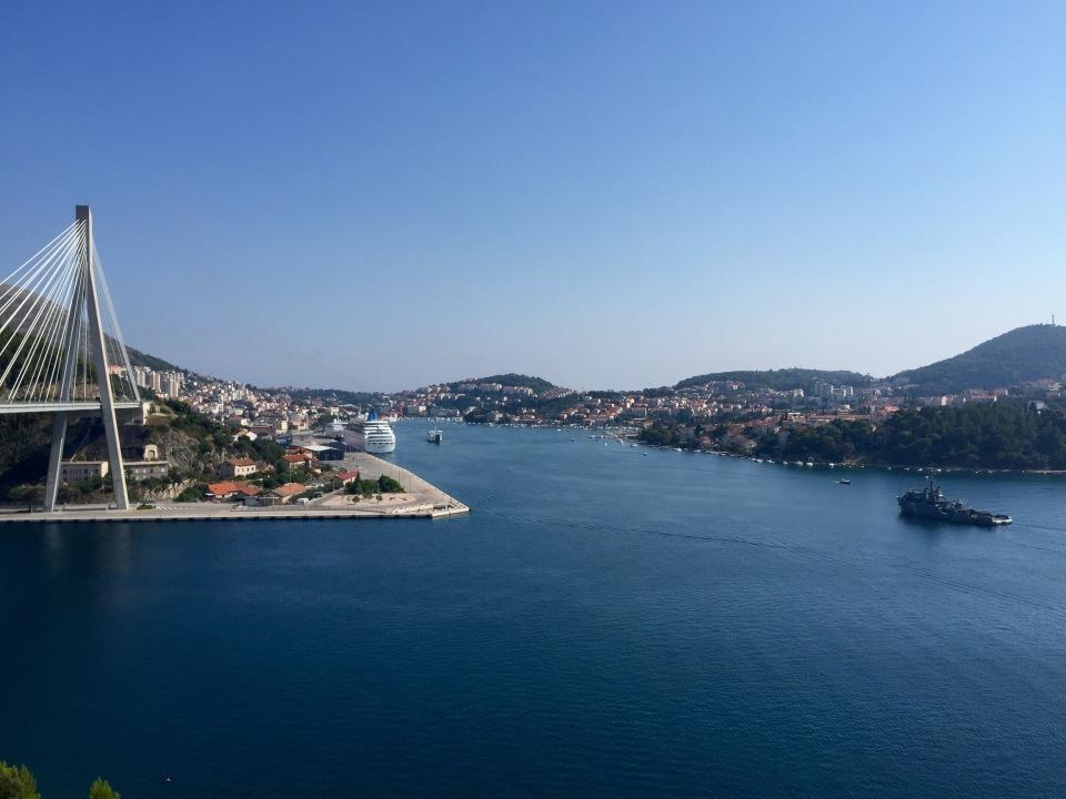 Military boat entering harbour area, Dubrovnik