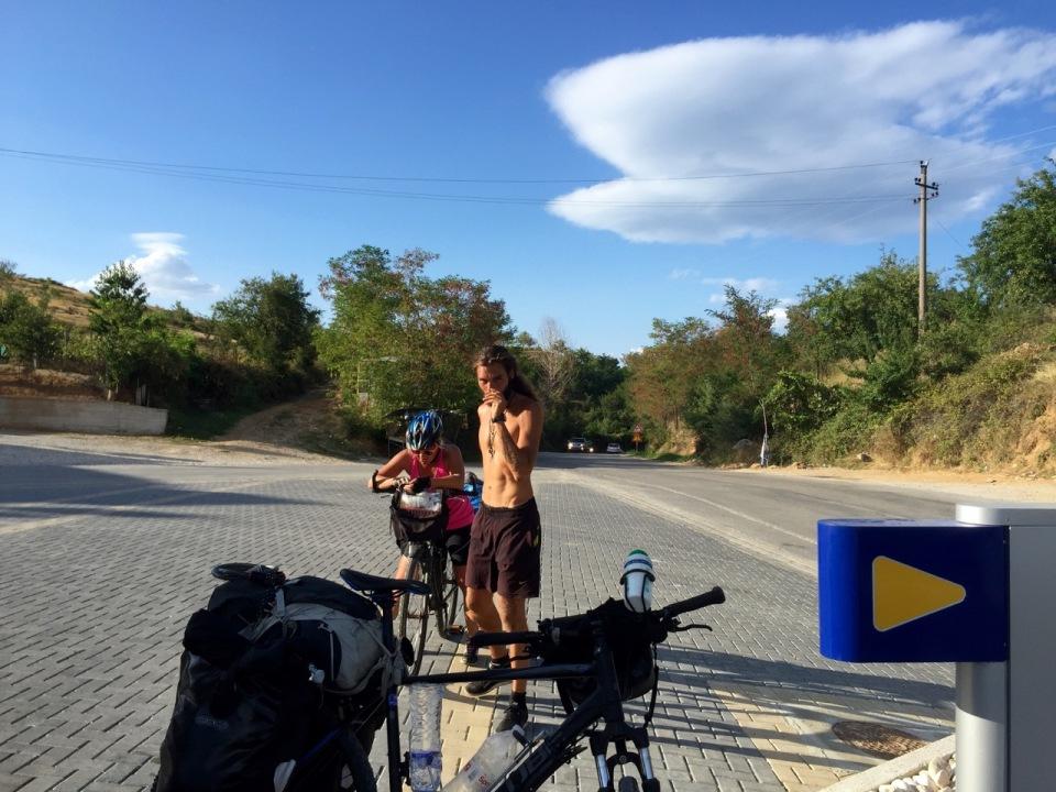 Top of a steep climb after Pogradec - hot again